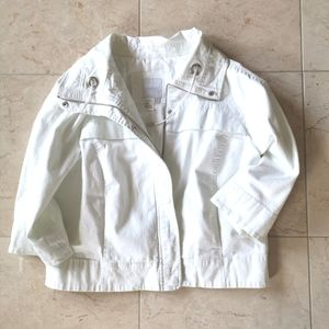 White Crop Cotton Jacket Blazer Spanner sz…